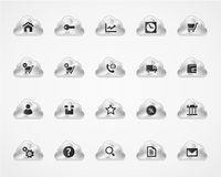 Set of web and commercial icons on metallic clouds Royalty Free Stock Image