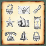 Set web design elements, vintage gravure style Royalty Free Stock Image