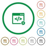 Web development outlined flat icons. Set of Web development color round outlined flat icons on white background Royalty Free Stock Photography