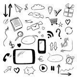 Set with web doodles. Sketch style vector Royalty Free Stock Photo