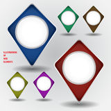 Set of web elements. Vector illustration of web elements. Labels with shadows. Background in own layer Stock Photos
