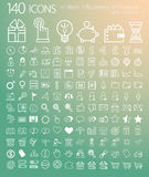 Set of 140 web, finance and business icons. Royalty Free Stock Image