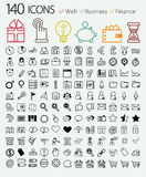 Set of 140 web, finance and business icons. Royalty Free Stock Photos