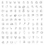 Set of 140 web, finance and business icons.Hand dr. Set of 140 web, finance and business hand drawn icons. Fully   file Stock Image