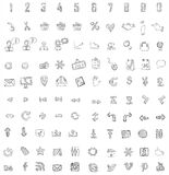 Set of 140 web, finance and business icons.Hand dr. Set of 140 web, finance and business hand drawn icons. Fully   file Royalty Free Stock Photos