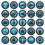 Set of web glass icons Stock Photo