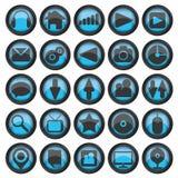 Set of web glass icons Stock Photo
