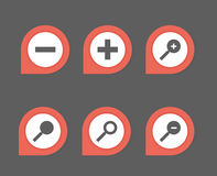 Set of web icon. Zoom symbol,  buttons Royalty Free Stock Photos