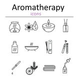 Set of web icons for aromatherapy. Oil burner, Aromatic sticks, aroma oils, candles and other accessories for aromatherapy. Stock Photo