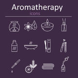 Set of web icons for aromatherapy. Oil burner, Aromatic sticks, aroma oils, candles and other accessories for aromatherapy. Vector illustration stock illustration