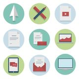 Set of web icons for business flat design, finance Stock Photos