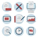 Set of web icons for business flat design, finance and communication, marketing. Set of web icons for business, finance and communication, marketing Stock Images