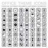 Set of 64 web icons for business. Office theme furniture,stationery,signs,documents,technology and etc. Vector illustration Royalty Free Illustration
