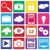 Set of 16 IT and web icons. Set of 16 color icons for web Stock Illustration