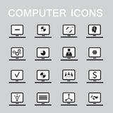 Set of 16 web icons for computer, electronics, business theme. Vector illustration Royalty Free Illustration