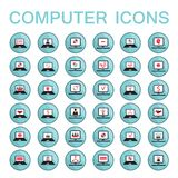 Set of 36 web icons computer technology. Set of 36 web icons for computer and laptop technology electronics business theme Vector illustration Stock Images