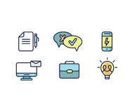Set of web icons flat design for business, finance and communication. Vector illustration. Stock Photo