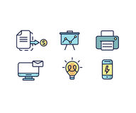 Set of web icons flat design for business, finance and communication. Vector illustration. Royalty Free Stock Image