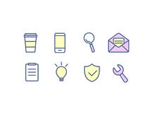 Set of web icons flat design for business, finance and communication. Vector illustration. Set of web icons flat design for business, finance and communication Stock Photos