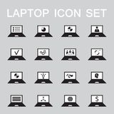 Set of 16 web icons for laptop, computer, electronics, business theme. Vector illustration vector illustration