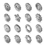 Set of web icons metal mechanical gears vector illustration