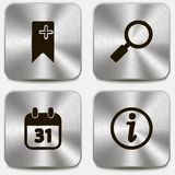 Set of web icons on metallic buttons vol3 Royalty Free Stock Photos