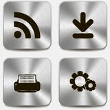 Set of web icons on metallic buttons vol4 Stock Images