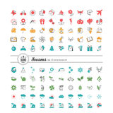 Set of 100 web icons. Season, weather. Stock Photography