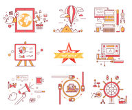 Set of Web Icons Sign Symbols in Flat Style Vector. Set of web icons in flat style. E-commerce. Travelling on balloon, computer technologies, diagrams and charts Stock Photo