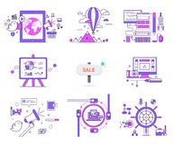 Set of Web Icons Sign Symbols in Flat Style Vector. Set of web icons in flat style. E-commerce. Travelling on balloon, computer technologies, diagrams and charts Royalty Free Stock Photos
