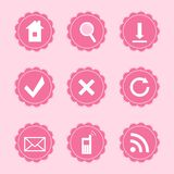 Set of web icons. Vector set of 9 pink female icons - WEB Royalty Free Stock Photo