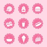Set of web icons. Vector set of 9 pink female icons - Food Takeaway Stock Images