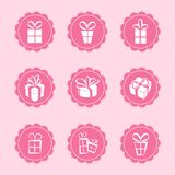 Set of web icons. Vector set of 9 pink female icons - GIFTS Stock Photography