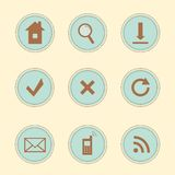 Set of web icons. Vector set of 9  vintage icons for websites Stock Photos