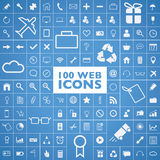 Set of 100 web, internet, office, computer and tra. 100 web, internet, office, computer and travel icons vector Stock Photography