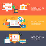 Set of web internet technology of business, online. Banking and education banners flat design Stock Photos