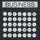 Set of web line icons for business, finance and communication. Black icons in light circle Royalty Free Stock Photo