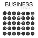 Set of web line icons for business, finance and communication. White icons in dark circle Stock Photo