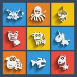 Set of 9 web and mobile animals icons. Vector. Set of 9 vector web and mobile animals icons in flat design. Symbols of cat, dog, octopus, spider, pig, cow Royalty Free Stock Images
