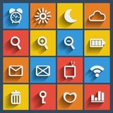 Set of 16 web and mobile icons. Vector. Set of 16 vector web and mobile icons in flat design Royalty Free Stock Photos