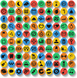 Set of 100 web and mobile icons. Vector. Stock Images