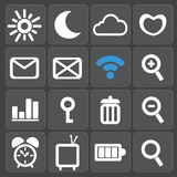 Set of 16 web and mobile icons. Vector. Stock Images