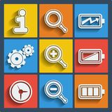 Set of 9 web and mobile icons. Vector. Royalty Free Stock Photography