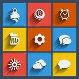 Set of 9 web and mobile icons. Vector. Set of 9  web and mobile icons in flat design. Symbols of bell, 8ball, alarm clock, beer, gear, bubbles, sun, clouds Stock Photo