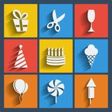 Set of 9 web and mobile icons. Vector. Set of 9 vector web and mobile icons in flat design. Symbols of gift, scissors, wineglass, festive cap, cake, candles Royalty Free Stock Photos