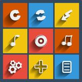 Set of 9 web and mobile icons. Vector. Royalty Free Stock Images