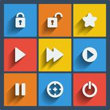 Set of 9 web and mobile icons. Vector. Stock Images