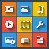 Set of 9 web and mobile icons. Vector. Set of 9 vector universal web and mobile icons in flat design Stock Image