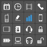 Set of 16 web and mobile icons. Vector. Set of 16 vector universal web and mobile icons in flat design. Symbols of diagrams, headset, smartphone, computer vector illustration
