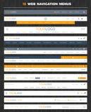 Set of 15 web navigation menus. Set of 15 flat and modern web navigation menus Stock Photos